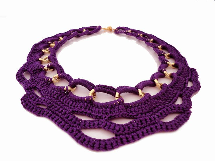 Purple Summer Fashion Crochet Collar Bib Necklace. $42.00, via Etsy.