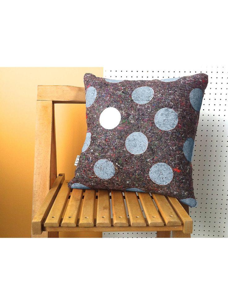 Recycled fabric polka dot cushion