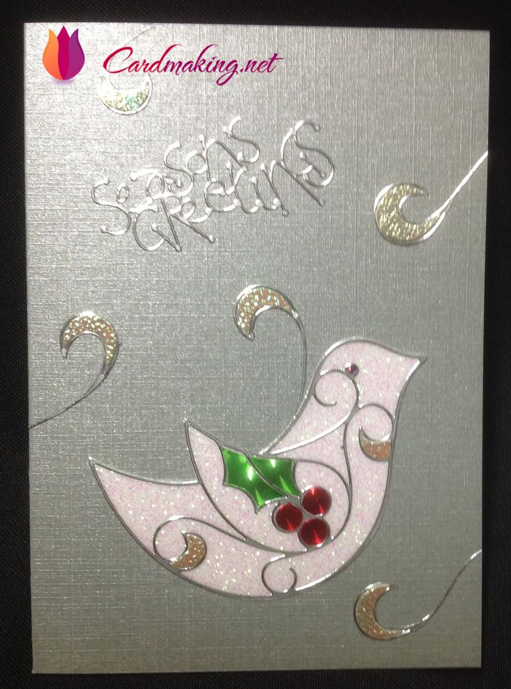 Glitter Foil on white cardboard, #ElizabethCraft peel off sticker on top. Inlayed with Holographic paper.
