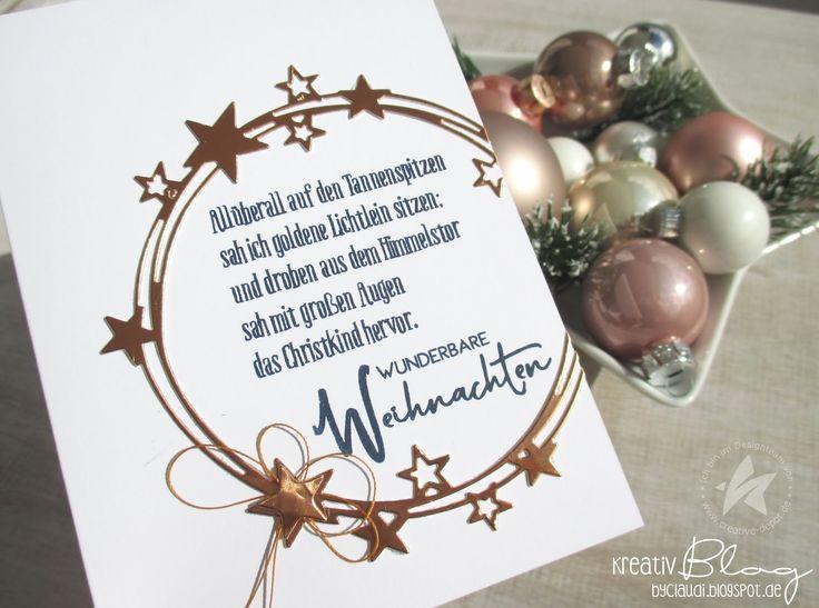 sah ich goldene Lichtlein sitzen.... Ich liebe diesen Vers. Da kommen Kindheitserinnerungen auf. Den Stempel habe ich mit der Sternenkr...