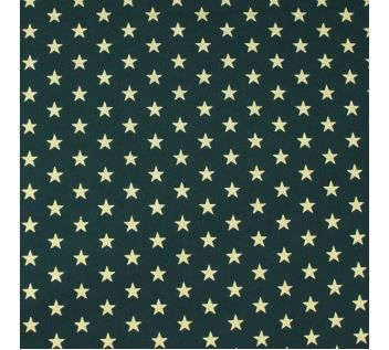 Bavlna zelená, zlaté hvězdy š.145