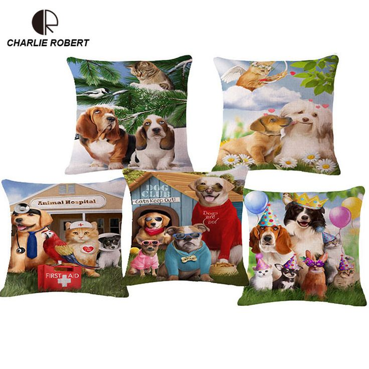 """S-standard Quality 17"""" Animal Dog Cat linen Home Seat Decorative Cushion With No Core Home Decor Throw Pillows Cojin Pad HH1068 #Affiliate"""
