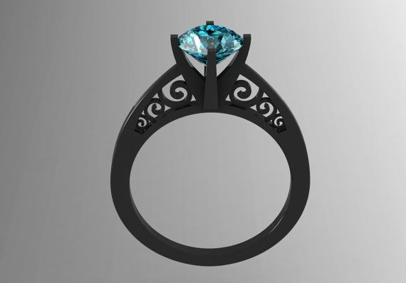 14k Black Gold Modern Wedding, Engagement or Bridal Ring with a Blue Topaz Center Stone Item# WR-0234