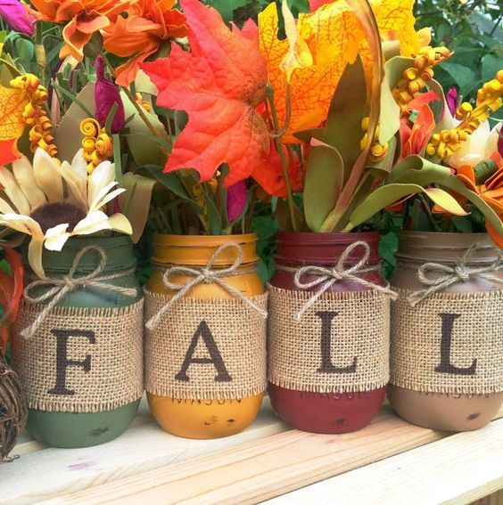 Set of 4 Hand Painted Mason Jars, Autumn, Home Decor, Fall Decor, Thanksgiving…