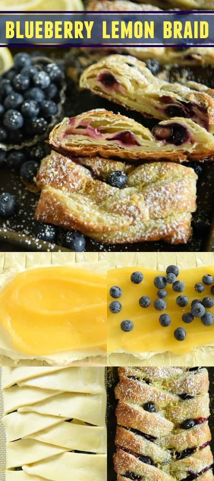 Blueberry Lemon Braid: filled with cream cheese, lemon curd and blueberries! It looks so impressive -- and tastes even better -- but is easy to make and only takes 30 minutes! #Brunch #Lemon #Blueberries