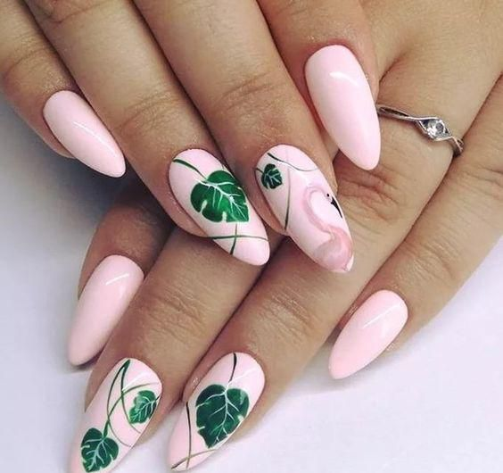 20+ Flamingo Tropical Nail Art; Flamingo-Nägel; Design de unhas; Геометр…