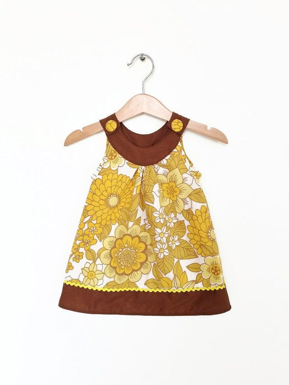 Baby dress, 6 to 12 months, mustard yellow vintage florals, retro baby clothes, infant dress, baby girl dress, baby girl clothes UK via Etsy