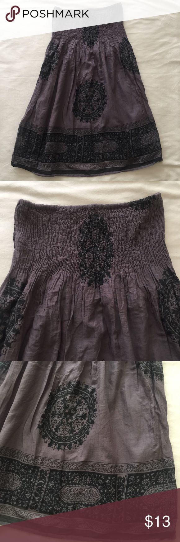 Gray Paisley Floral Strapless Flowy Summer Dress Great condition no stains no holes.. great for summer, poolside, the beach, :) Dresses Strapless