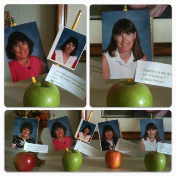My awesome mother-in-law retired after 34 years of teaching!!! I wanted a fun decoration for her retirement party. Shockingly Pinterest had none, so I came up with this. Those are teacher quotes next to the pictures.
