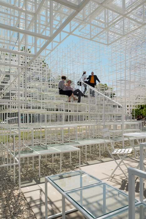 2013 Serpentine Gallery Pavilion by Japanese architect Sou Fujimoto creates a mixture of nature and architecture. The design features a cloud-shaped grid. The pavilion will open to the public from Saturday and remain in front of the Serpentine Gallery in Kensington Gardens until 20 October 2013.