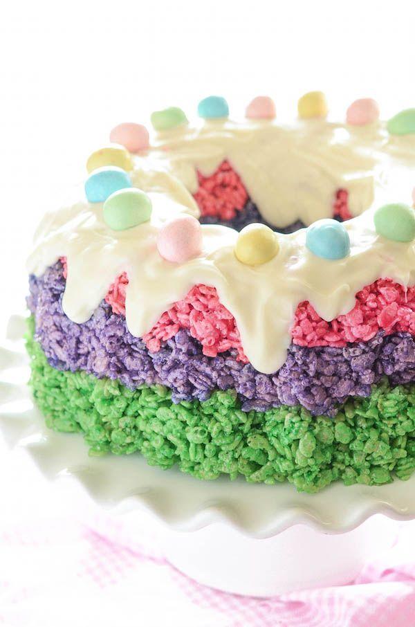 Easter Rice Krispie Cake! Festive easy no-bake dessert for #Easter!