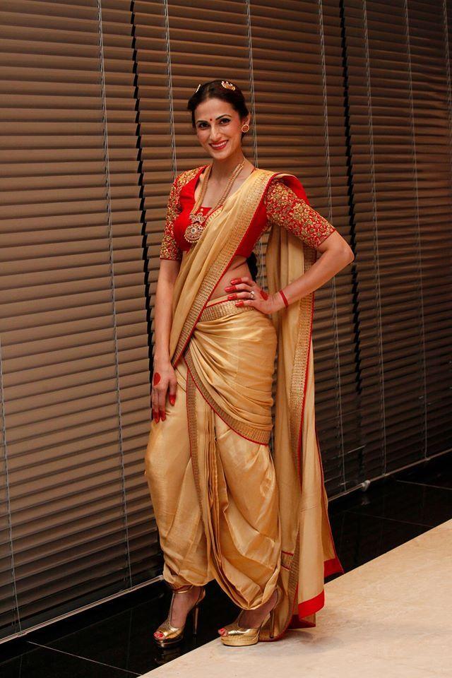 Designer Shilpa Reddy wearing a Golden Dhoti Saree for India Fashion Week Dubai