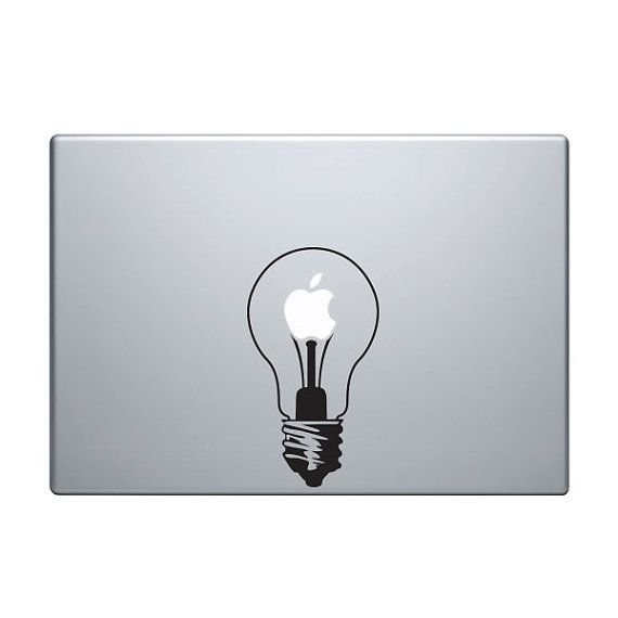 Light bulb vinyl decal sticker to fit macbook pro 13 15 17