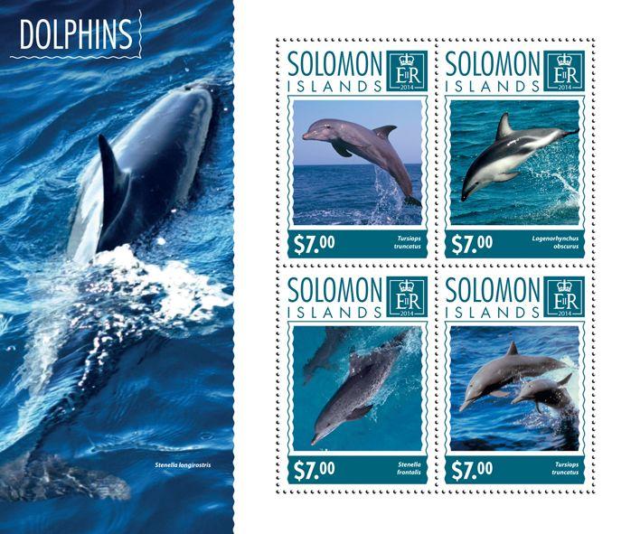 Post stamp Solomon Islands SLM 14605 aDolphins (Tursiops truncatus)