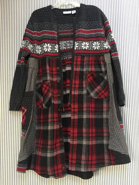 Upcycled Red Gray Plaid Flannel Fair-isle sweater coat, Warm Winter Cardigan Patchwork Appliqué Big Side Pockets Open Zip Front Jacket Sweater is Ramie Cotton Lambswool Sweater is a Size Medium Measured with garment laying flat 19 across armpit to armpit 37 long Free hips and