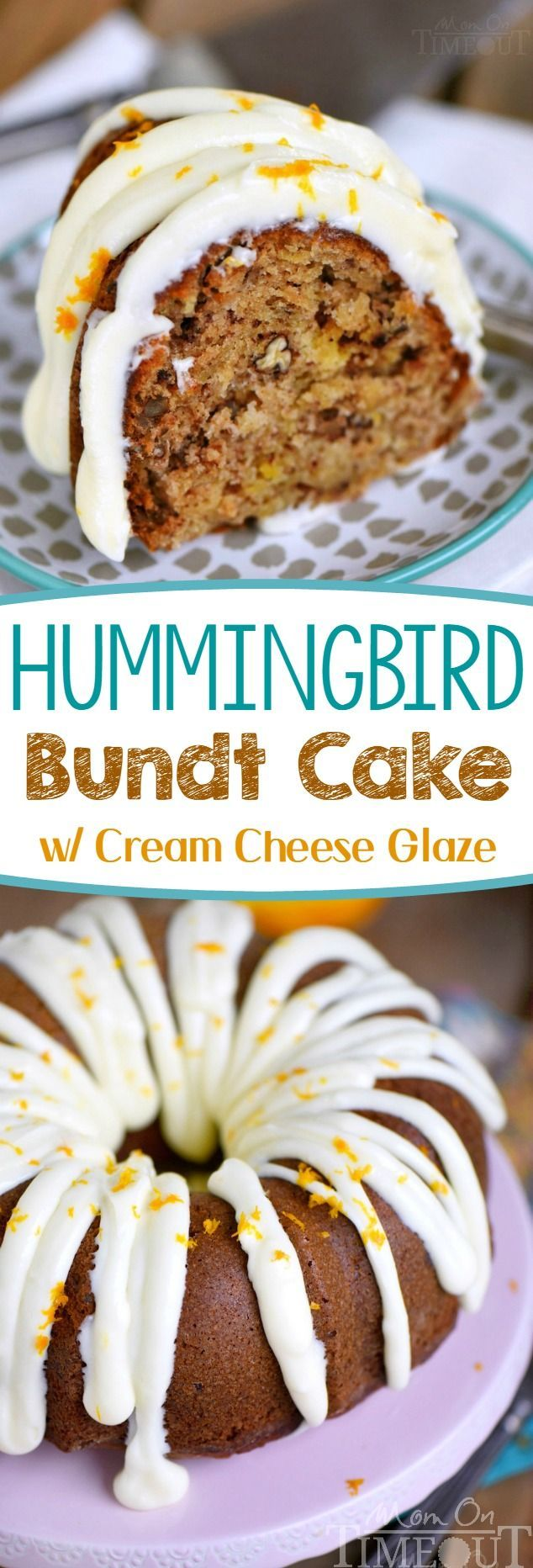 Hummingbird Bundt Cake with Cream Cheese Glaze will be the star of the show! This delightfully moist cake is made with bananas, pineapple, pecans and spiced with cinnamon, cloves and nutmeg - every bite of this easy cake is pure bliss! | Mom On Timeout
