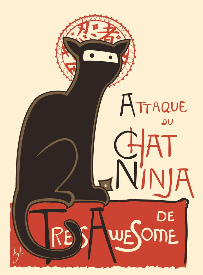 """A French Ninja Cat (Le Chat Ninja)"" Art Print by Kyle Walters on Society6."