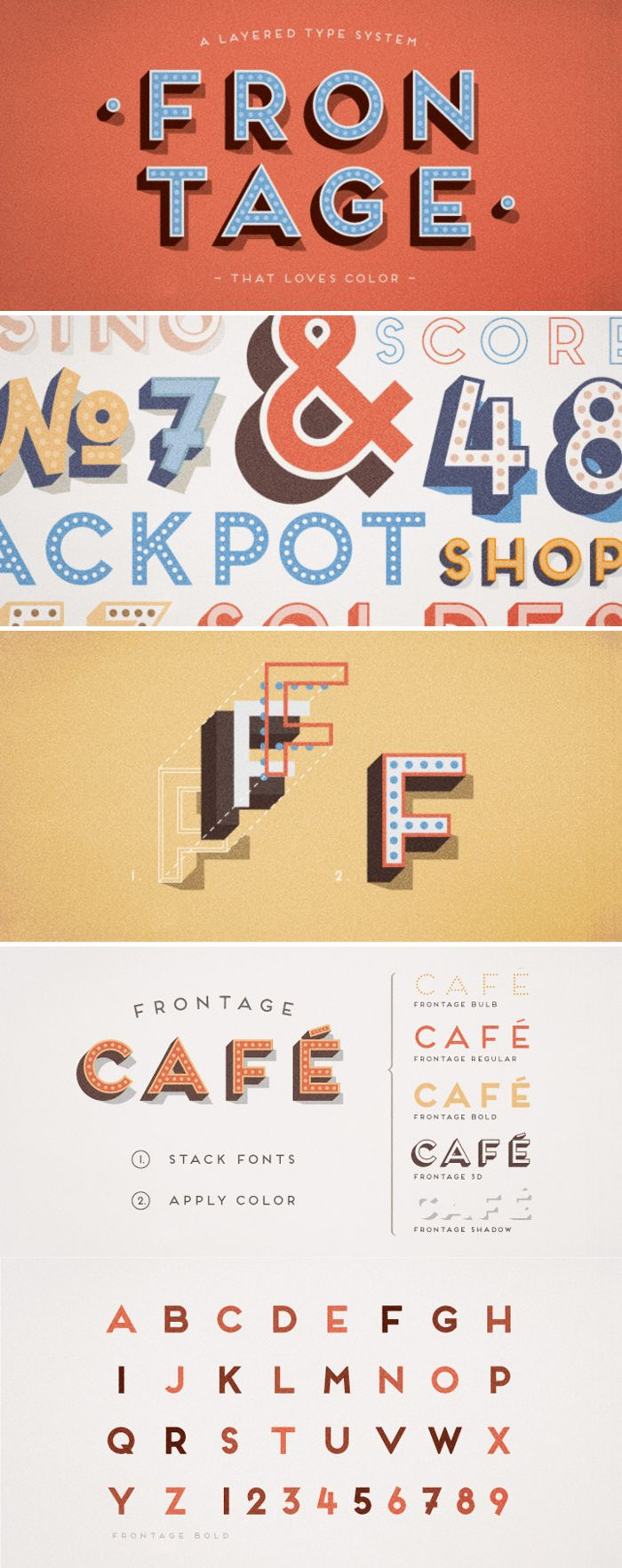 Frontage Font - a charming layered type system