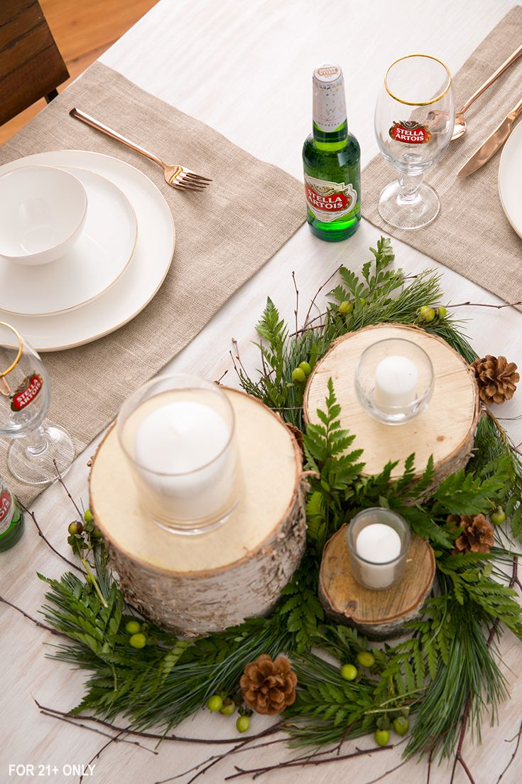Take a walk around your backyard to find easy, rustic fall decorations. Gather pinecones, acorns, leaves, twigs, and branches to create a simple winter-inspired tablescape.