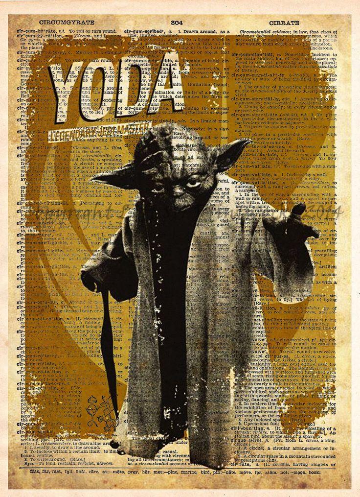 Star Wars Art, Yoda, Vintage Silhouette print, Retro Star Wars Art, Dictionary print art