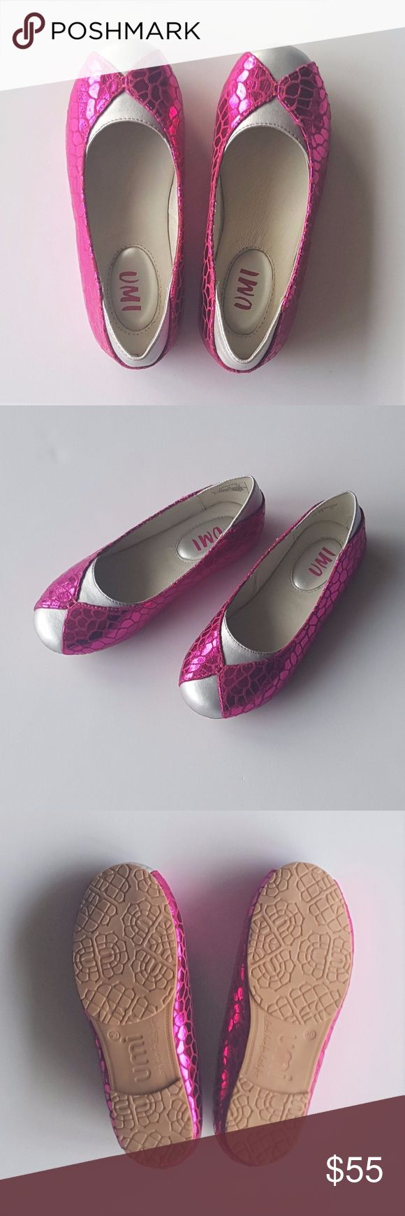 """UMI """"Lidia"""" Ballet Flats - Sz. 12 US (Girl's) UMI """"Lidia"""" Ballet Flats in Metallic Pink & Silver with Faux Snakeskin Accents -  A clever and playful spin on the classic ballet flat!!!  - Girl's Size 12 US / 30 EU -  Per UMI size chart, length of sole from heel to toe = 7.25"""" - NEW IN BOX -  * NOTES *   1. The box shows some wear from storage, but shoes inside remain in BRAND NEW, UNWORN CONDITION.  2.  On inside of the left shoe, there are some light markings as a result of the """"snakeskin""""…"""