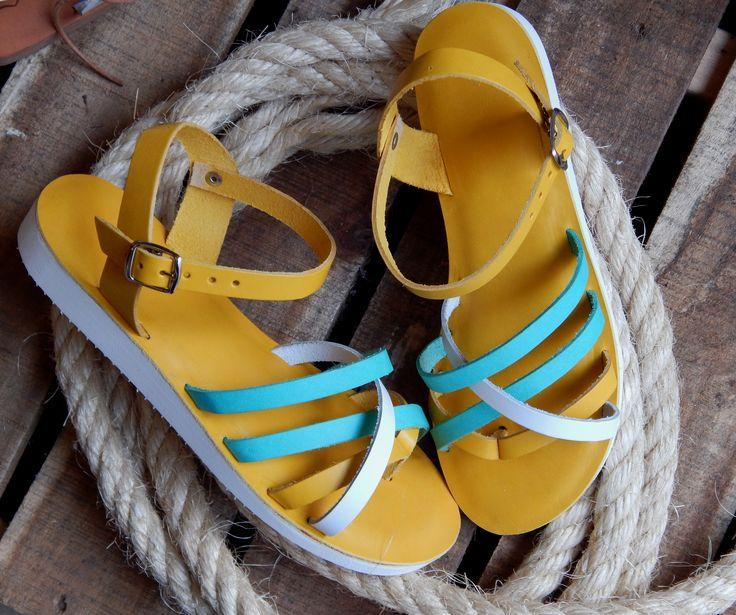 Handmade leather sandal ANTIGONE 2 ..... happy bright yellow .....