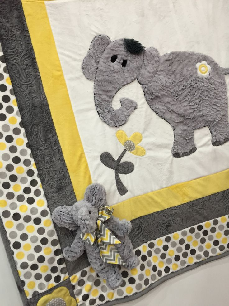 Ella Quilt Plush Baby Elephant Made With Frosted Zebra
