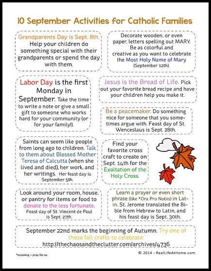 10 September Activities for Catholic Families {Free Printable}