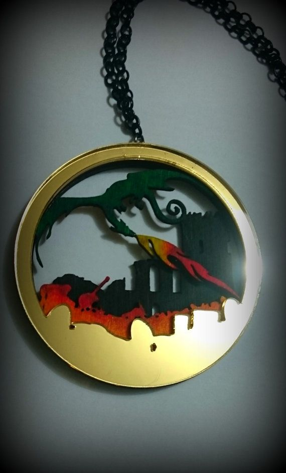Dragon's Lair Layered Silhouette necklace 2 by CuriologyJewellery (silver chain small) - £12.00