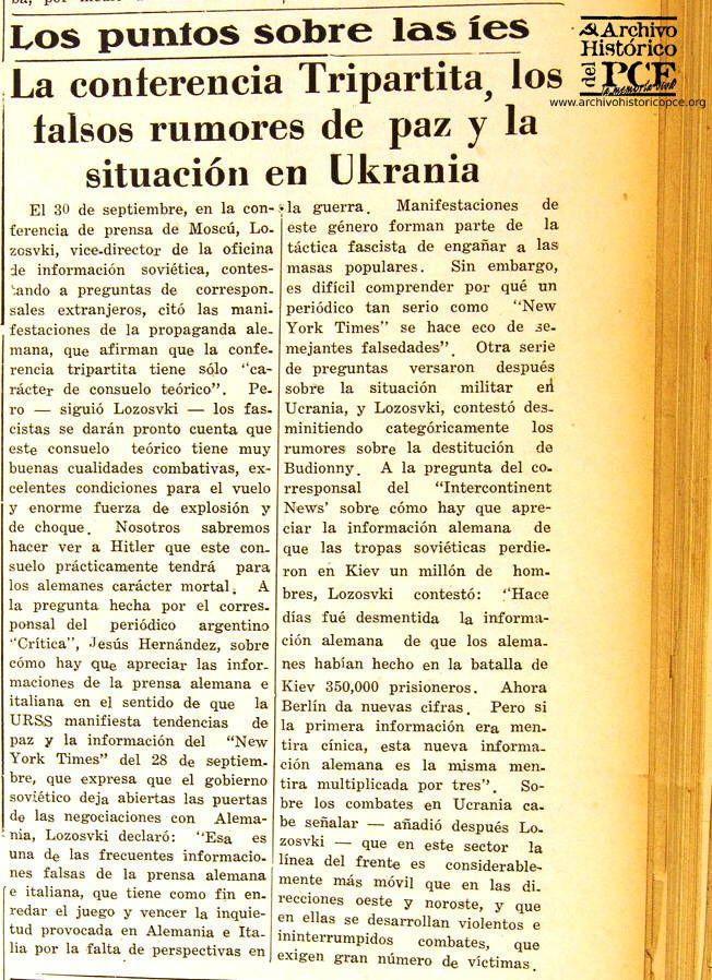 Recorte de España Popular sobre Ucrania, 1941