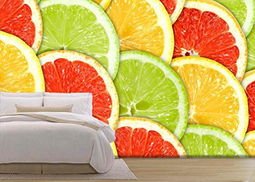 wall26 - Abstract Three-Color Background with Citrus-Fruit of Grapefruit, - Removable Wall Mural | Self-adhesive Large Wallpaper - 100x144 inches #murales #wallmurals #wallpaperwednesday