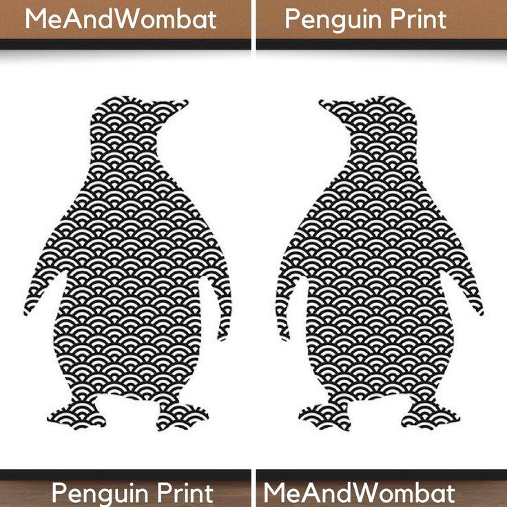 Wife Christmas gift Penguin Prints Black White animal prints Penguin Wall Art decor Digital Download Penguin art Geometric Art animal gift