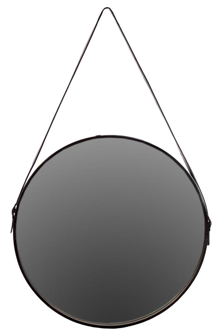 Williams sonoma home five panel beveled mirror - Metal Round Mirror With Leather Belt Hanger Black Wayfair