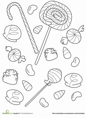 Lollipops, gum drops, and jellybeans... Everybody loves candy! Satisfy your sweet tooth with this fun candy coloring page.