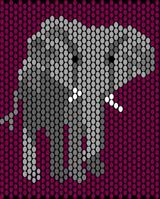 Elephant Beaded Amulet Bag - Free Bead Pattern in Peyote Stitch - This would be awesome in hexies