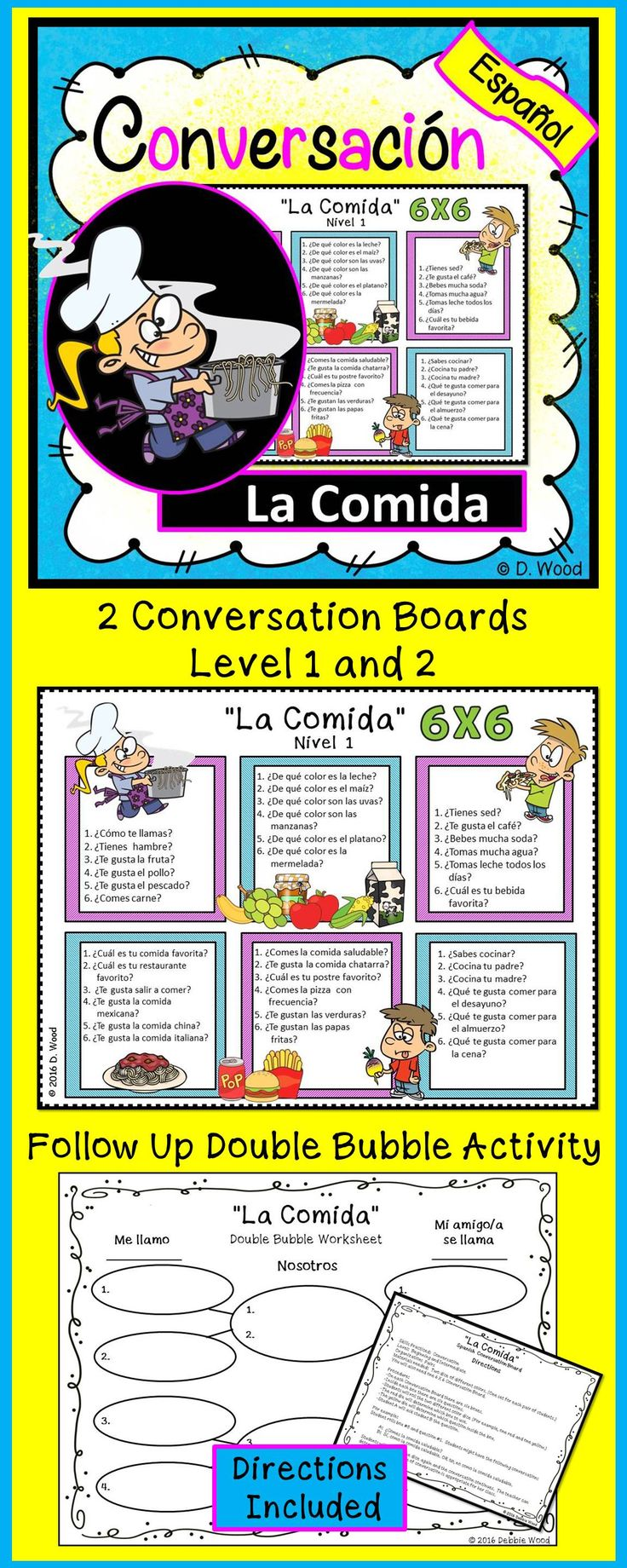 Spanish Conversation Boards on Food:  A fun, an engaging activity for students to communicate in the target language.