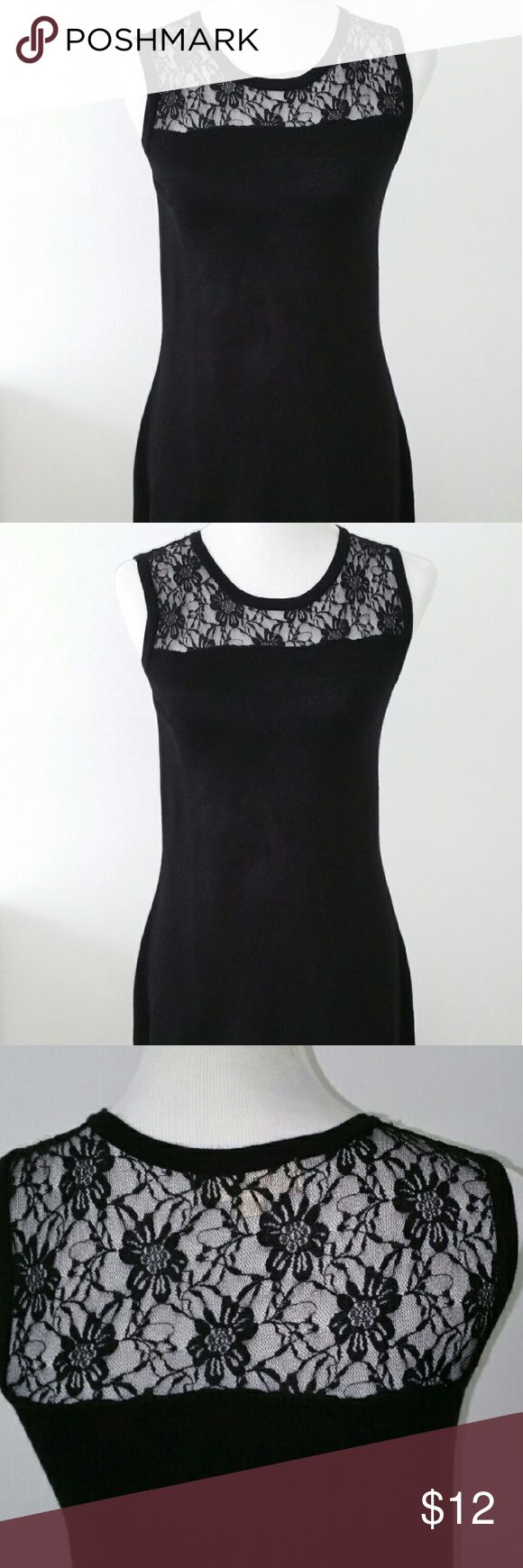 Black Laced Top Dress Knee Length Black Dress with lace top Pink Rose Dresses Midi