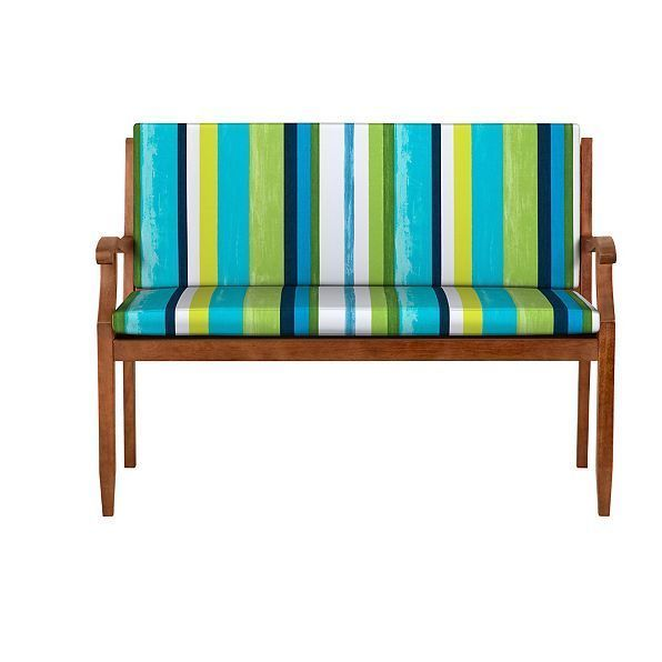 Patio Furniture Cushions And Pads 79683 47 Outdoor Bench Cushion Seat Back With Hinge Green Stripe Decor Striped Decor Bench Cushions Patio Furniture Cushions