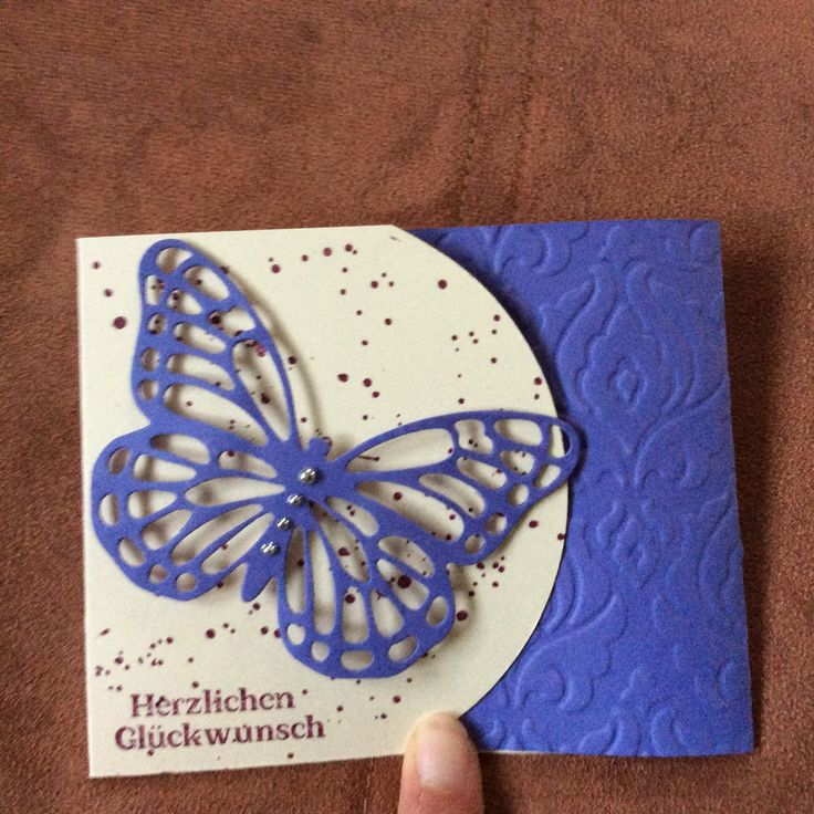 Mini Karte, Stampin Up, Big Shot, Schmetterling, prägefolder Barock,