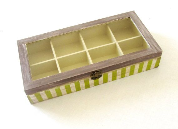 Rustic wooden decoupage  tea box with stripes  by ArtandWoodShop