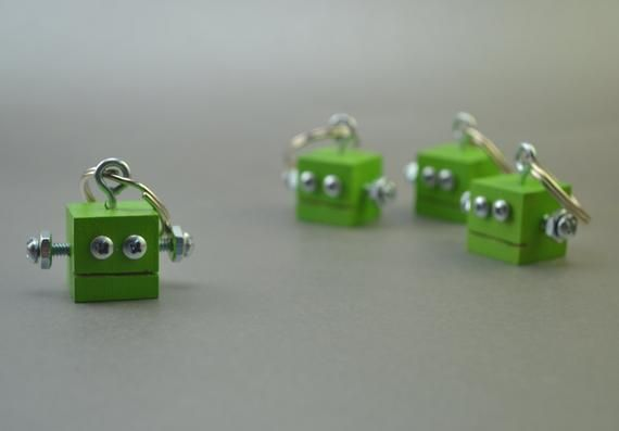 Jungle Green Robot Keychain