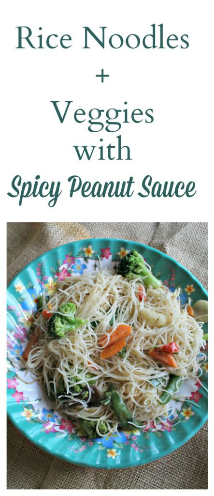 Rice noodles + veggies with spicy peanut sauce #recipe. Delish!