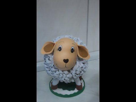 como fazer ovelhinha em eva 3d - YouTube