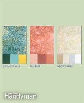 Before you sponge paint a wall, experiment with different color combinations .