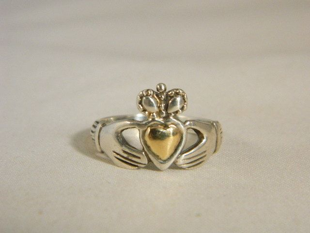 Sterling Silver Claddagh Ring / Vintage Promise Ring / Irish Heart Ring with 12k Gold Heart Size 7.5 by VintageBaublesnBits on Etsy
