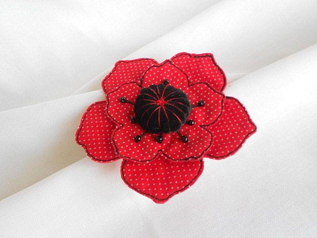 PoppyTextile Brooch.Icon Pin.Cute Felt Brooch.Handmade art brooch.Flower Felt Brooch. by Galipurses on Etsy