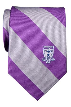 Sigma Alpha Mu 100% Silk Fraternity Crest Striped Tie
