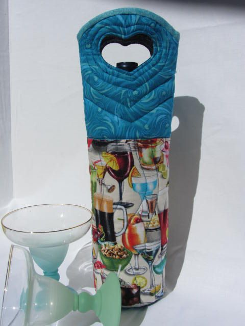 Cocktails Wine Bag Quilted Wine Carrier Fabric Wine by Wine2The9s, $22.50 GREAT HOLIDAY GIFT IDEA!! FILL WITH YOUR FAVORITE VINO OR OTHER POISON!