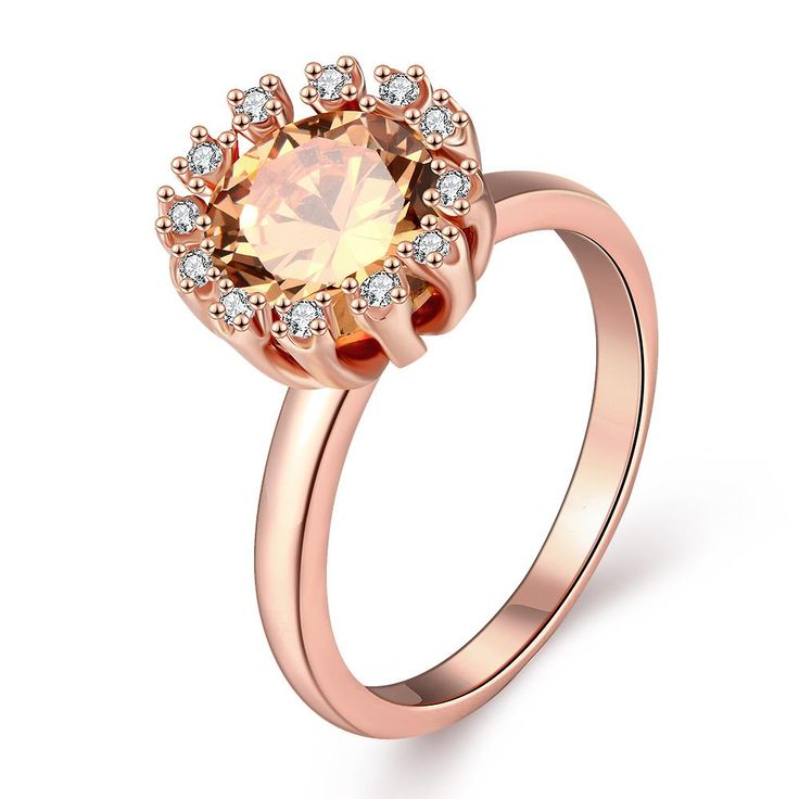 Trendy Rose Gold Plated Round Multicolourcolour Cubic Zirconia Ring for Women CZR314