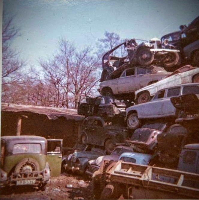 Old Scrap Yard Scene Scrap Car Abandoned Cars Old Cars
